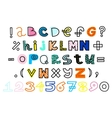 hand drawn alphabet and numbers Funky vector image