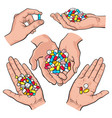 hand drawn hands holding piles of colorful pills vector image
