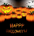 Happy Halloween Pumpkin set with bats on black vector image