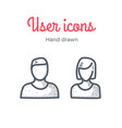 user icons set male and female hand drawn vector image