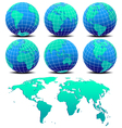 Six Global Worlds and World Map - SET ONE vector image vector image