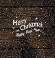 Christmas postcard with Falling Snow and Merry vector image vector image