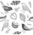 seamles patern doodle bird and leafs vector image