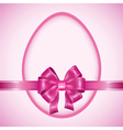 Easter egg with pink ribbon vector image
