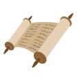 Torah scroll cartoon icon vector image