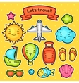 Set of travel kawaii doodles with different facial vector image vector image