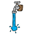 freehand drawn cartoon running faucet vector image