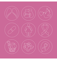 Collection of breast cancer awareness icons vector image