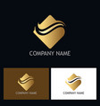 gold wave abstract company logo vector image
