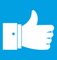 thumb up gesture icon white vector image