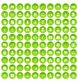 100 criminal offence icons set green circle vector image