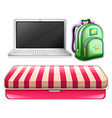 Sticker set of computer and backpack vector image
