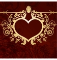 Vintage valentine background with golden heart vector image