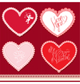 Set of hearts shape are made of lace doily element vector image