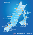 Island of Alonissos in Greece map vector image