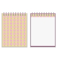 Floral style pink and yellow notebook cover design vector image