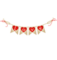 vintage bunting with hearts vector image vector image