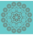 Circular ornament on turquoise background vector image