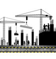 construction workers with cranes vector image