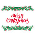 merry christmas red calligraphy lettering text and vector image