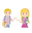 portrait of cute schoolboy and schoolgirl greeting vector image