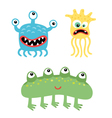Cartoon cute and funny monsters and microbes vector image