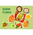Indian cuisine lunch dishes icon for menu dessign vector image