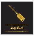 Halloween gold textured broom icon vector image