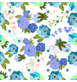seamless pattern with blue roses and leaves vector image