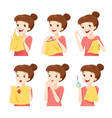 girl sewing clothes by hand set vector image