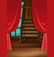 room with red curtains vector image