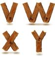 wooden V W X Y vector image vector image