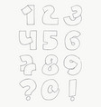 2d hand drawn numbers from 1 to 0 in simple vector image