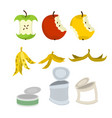 Rubbish set garbage collection apple core and vector image