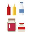color flat kitchen bottle set Sauce milk jam Flat vector image