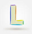 Alphabet letter L Watercolor paint design element vector image