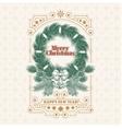 Christmas greeting card with fir wreath an vector image
