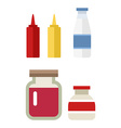 color flat kitchen bottle set Sauce milk jam Flat vector image