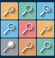 Set of magnifier lens icons in flat design vector image