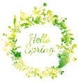 Spring watercolor wreath vector image