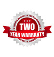2 year warranty button vector image