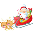 Santa Sleigh and Reindeer isolated on white vector image