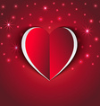 red Heart paper sticker with shadow star vector image vector image