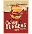 cheeseburger with wheels and a propeller vector image