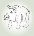 Wild boar pig in minimal line style vector image