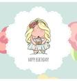 Happy Birthday card for girl cute little girl vector image