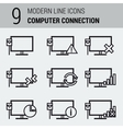 Line Icons Set - Computer Connection vector image
