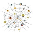 People stuck in complicated spider web vector image