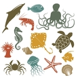 sea animals and fish icons vector image