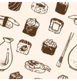Seamless pattern Sushi rolls and japanese seafood vector image